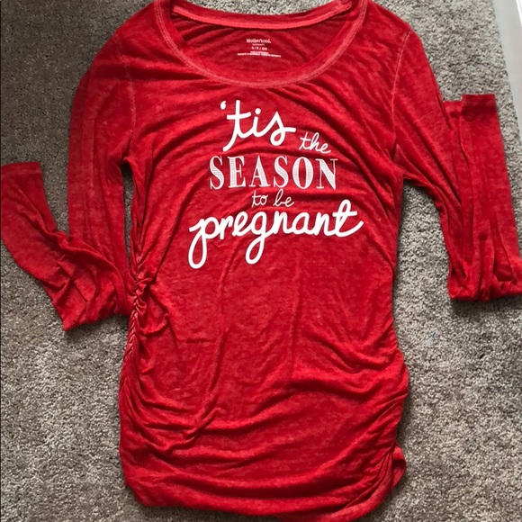 Pregnancy Women Maternity Tis The Season T-Shirt Christmas Top L//S Blouse NWT